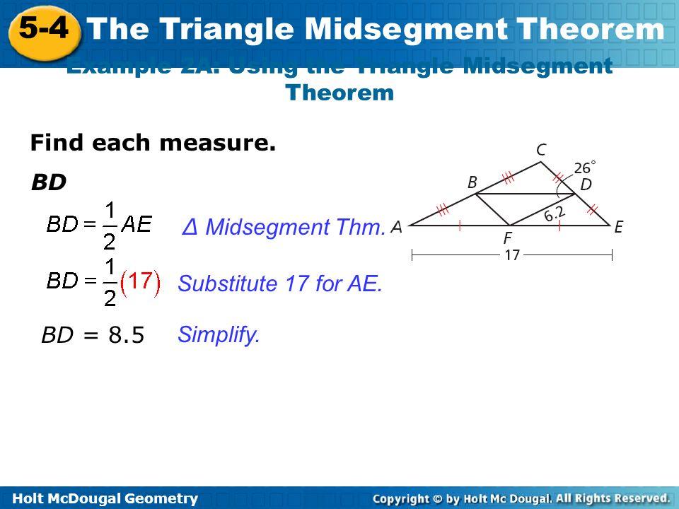 problem solving 5-4 the triangle midsegment theorem