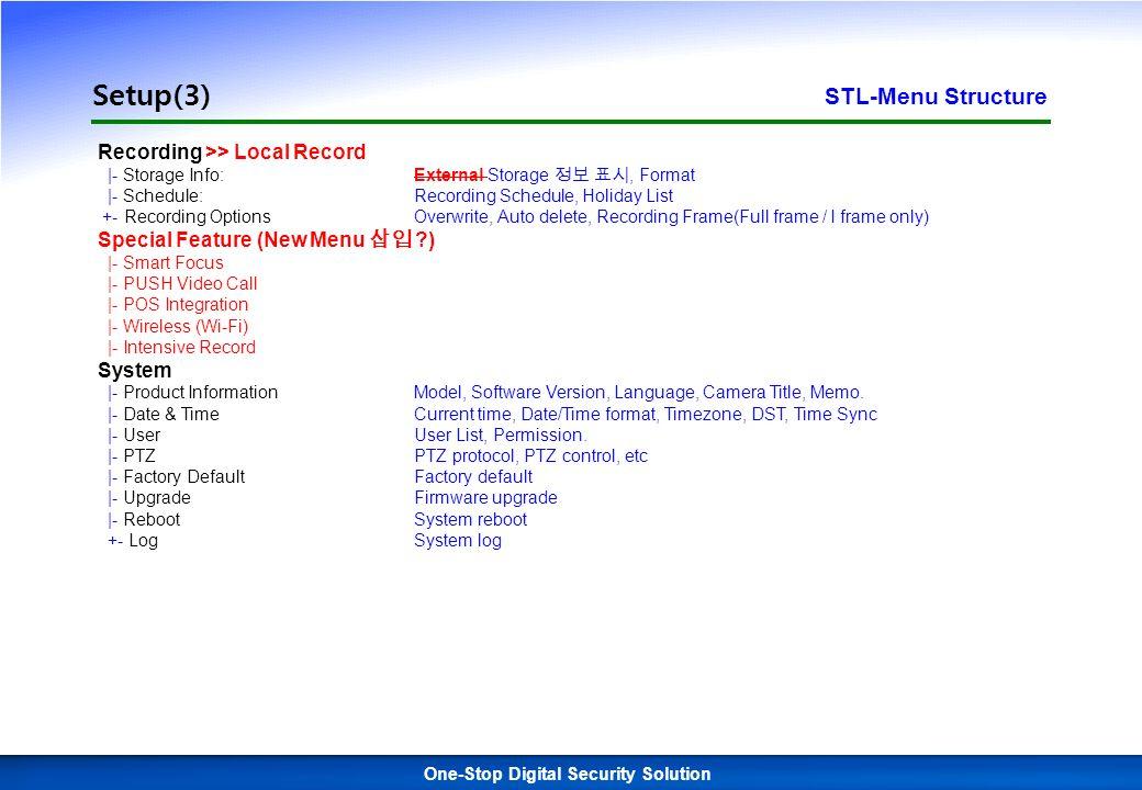 1 One-Stop Digital Security Solution Setup(2) STL-Menu Structure