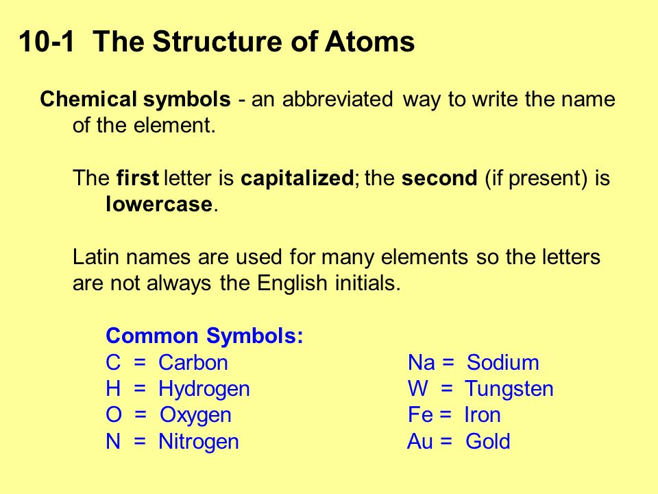 Chapter 10 atoms periodic table chemical symbols an abbreviated chemical symbols an abbreviated way to write the name of the element urtaz Choice Image