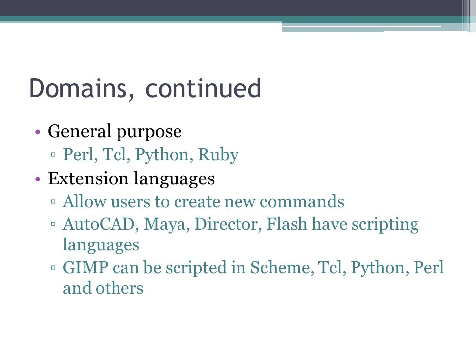 Scripting Languages Info derived largely from Programming Language