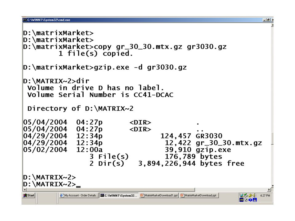 Downloading matrices from the Matrix Market The Matrix Market is an
