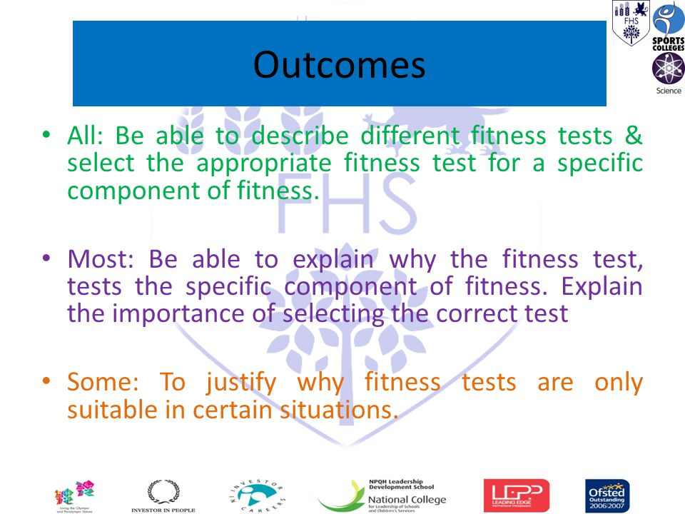 Outcomes All Be Able To Describe Different Fitness Tests Select The Appropriate Fitness Test