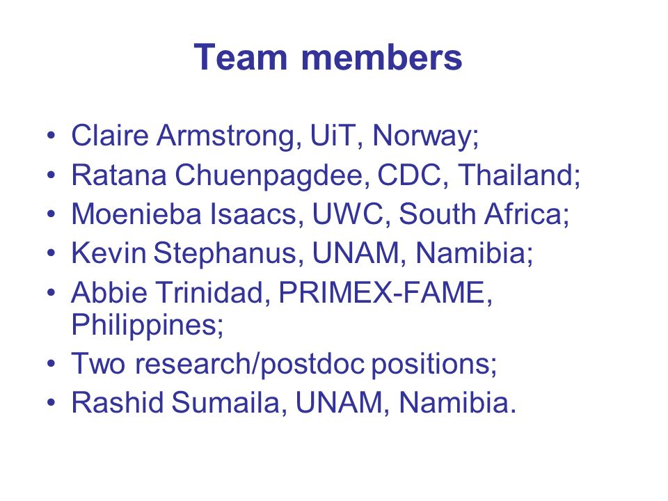 Work package 8 valuation ussif rashid sumaila and wp 8 team 2 team members claire armstrong uit norway ratana chuenpagdee cdc thailand moenieba isaacs uwc south africa kevin stephanus unam namibia thecheapjerseys Image collections