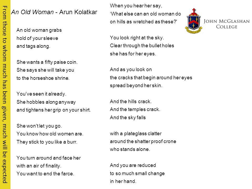 arun kolatkar an old woman summary