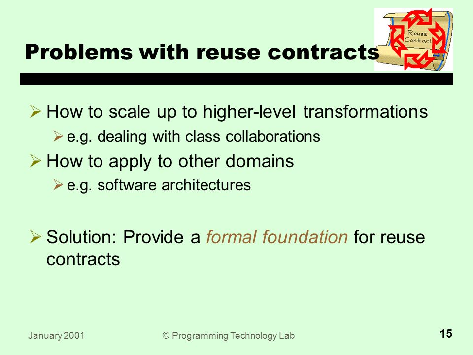 January 2001© Programming Technology Lab 15 Problems with reuse contracts  How to scale up to higher-level transformations  e.g.