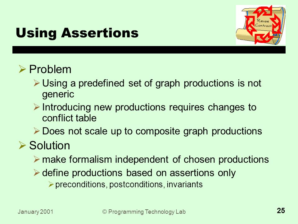 January 2001© Programming Technology Lab 25 Using Assertions  Problem  Using a predefined set of graph productions is not generic  Introducing new productions requires changes to conflict table  Does not scale up to composite graph productions  Solution  make formalism independent of chosen productions  define productions based on assertions only  preconditions, postconditions, invariants