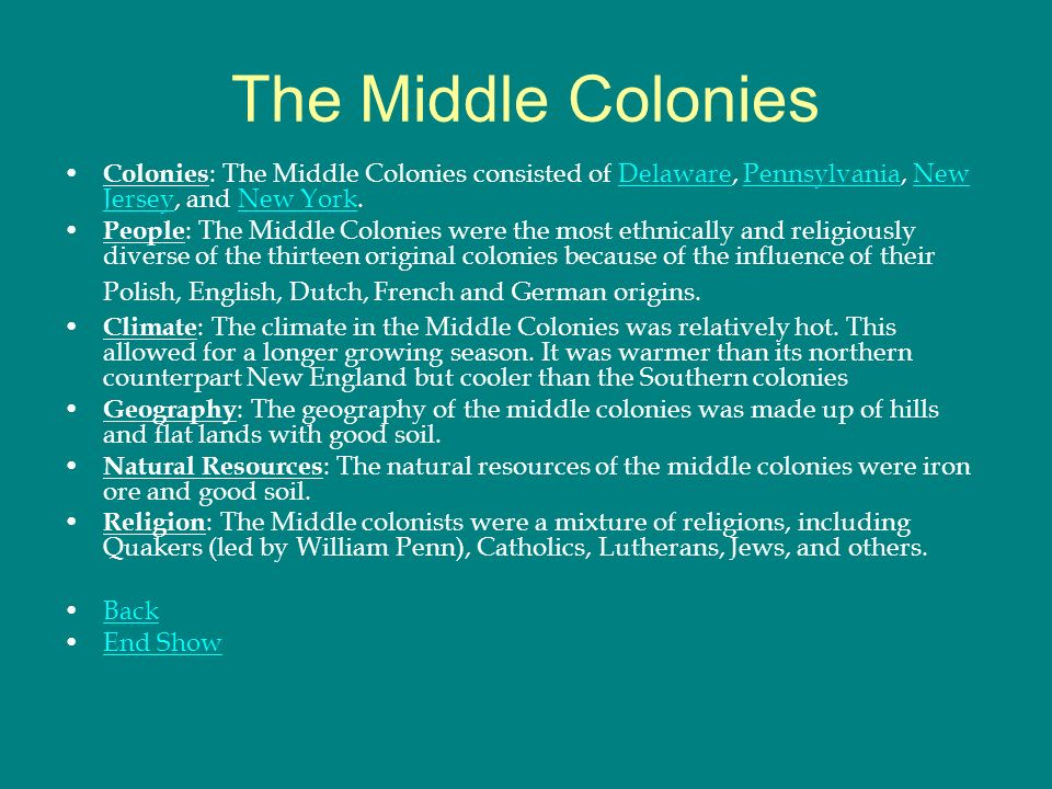 The Middle Colonies Colonies The Middle Colonies Consisted Of