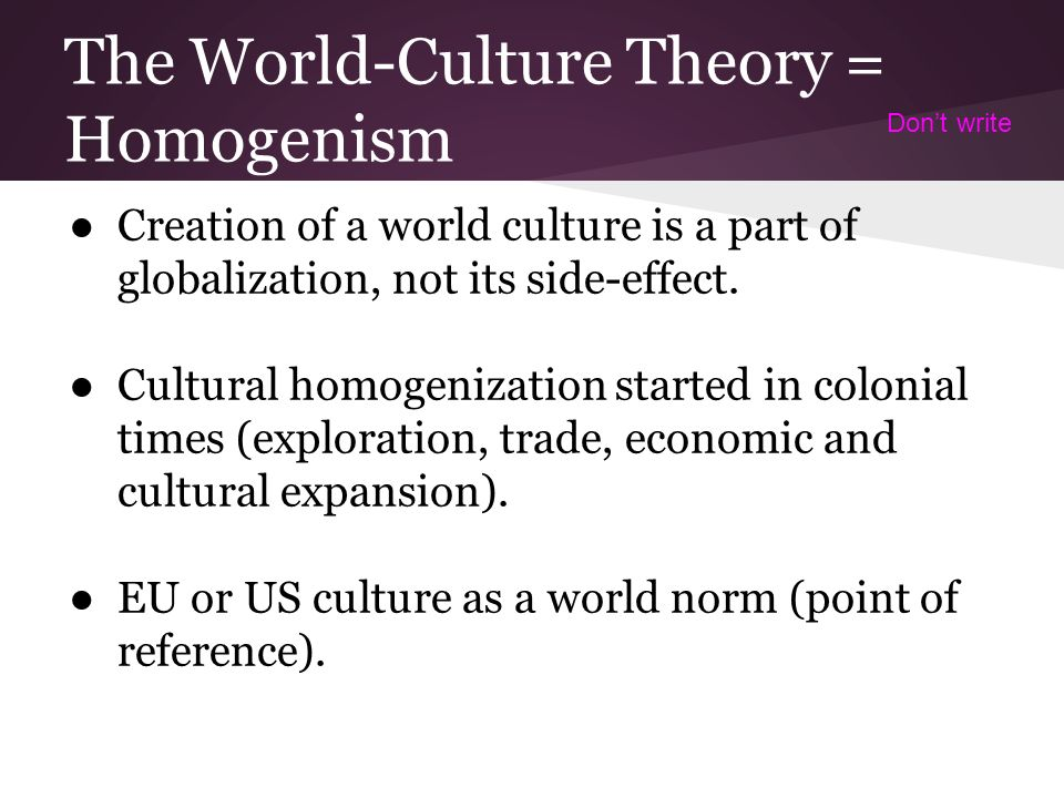 define cultural homogenization