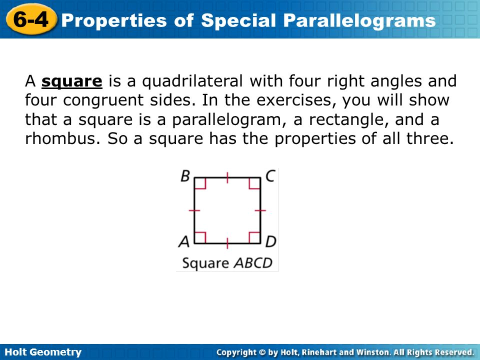 6-4 properties of special parallelograms problem solving answers