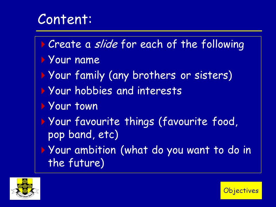 All about me year 7 powerpoint objectives content create a all about me year 7 powerpoint 2 objectives toneelgroepblik Gallery