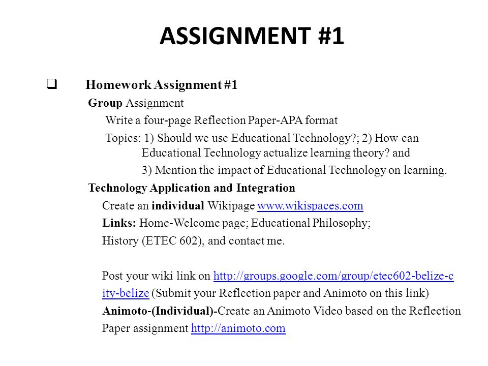 Assignment 1 Homework Assignment 1 Group Assignment