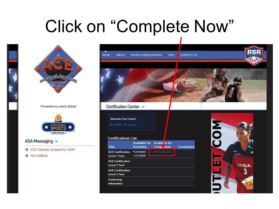 Ace Certification On Registerasa Click To Send To Your Coach Ppt