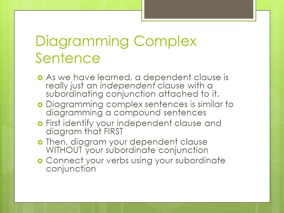 Subordinating conjunctions and complex sentences ppt download 16 diagramming complex sentence ccuart Image collections