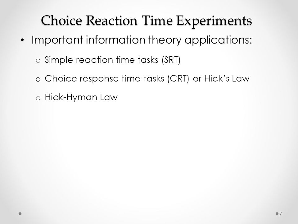 simple reaction time task
