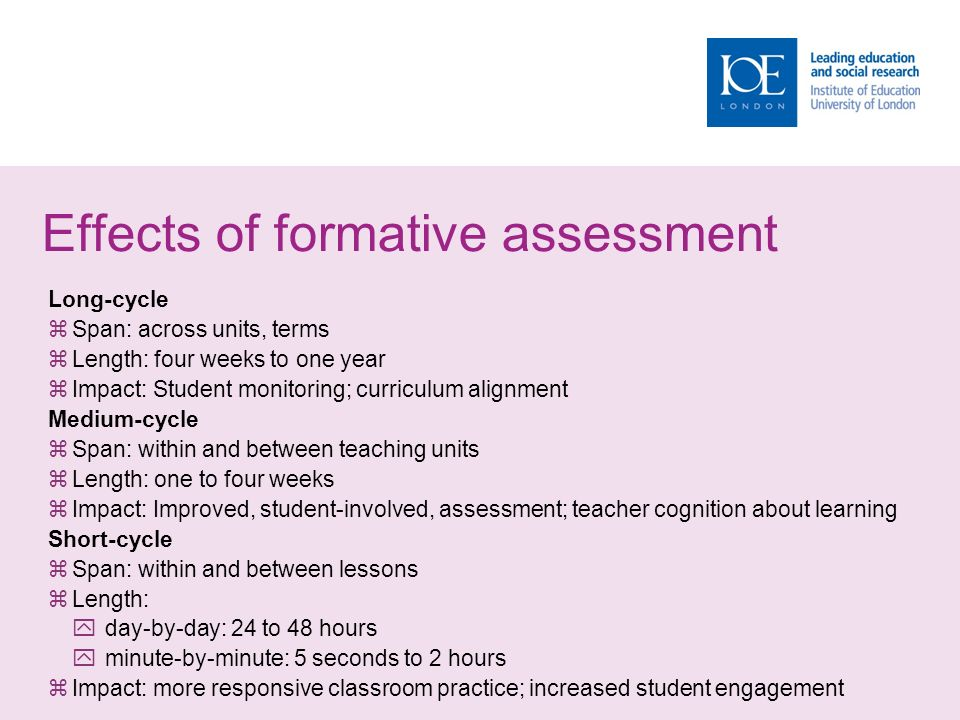 Effects of formative assessment Long-cycle  Span: across units, terms  Length: four weeks to one year  Impact: Student monitoring; curriculum alignment Medium-cycle  Span: within and between teaching units  Length: one to four weeks  Impact: Improved, student-involved, assessment; teacher cognition about learning Short-cycle  Span: within and between lessons  Length:  day-by-day: 24 to 48 hours  minute-by-minute: 5 seconds to 2 hours  Impact: more responsive classroom practice; increased student engagement