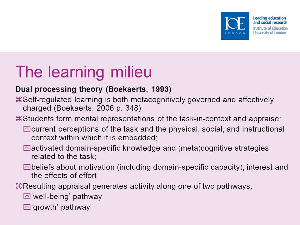 The learning milieu Dual processing theory (Boekaerts, 1993)  Self-regulated learning is both metacognitively governed and affectively charged (Boekaerts, 2006 p.