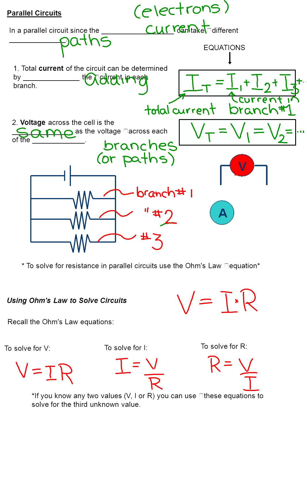 Solving Circuits 1 Circuit A In Which There Is Path All The Resistors Parallel We Can Use Ohms Law To 2