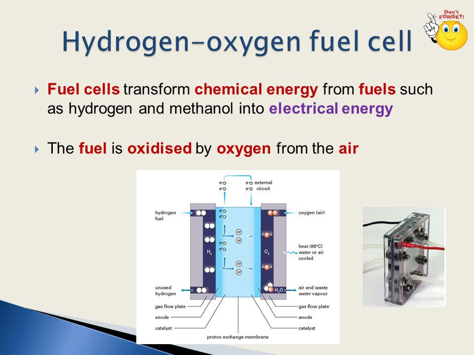 Fuel cells transform chemical energy from fuels such as
