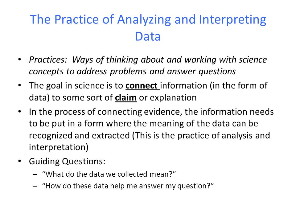 Analyzing and interpreting data within the