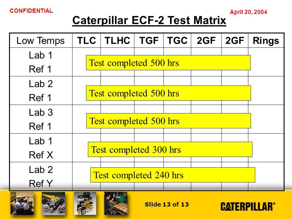 Slide 1 of 13 CONFIDENTIAL April 20, 2004 Caterpillar ECF-2 Program