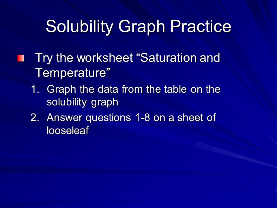 Saturated Solutions And Solubility Solubility Solubility