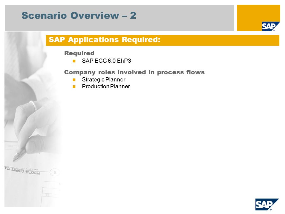 Scenario Overview – 2 Required SAP ECC 6.0 EhP3 Company roles involved in process flows Strategic Planner Production Planner SAP Applications Required: