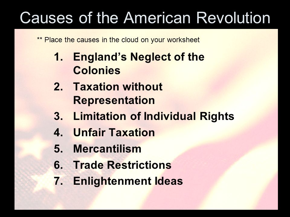 causes of the american revolution frq An independent america: the american revolution in this lesson students learn about the causes of the american revolution the lesson sets the stage for the revolution with information about the english empire, american colonies, and the seven years' war, as well as the stamp act of 1765, the sons of liberty, and the boston massacre.