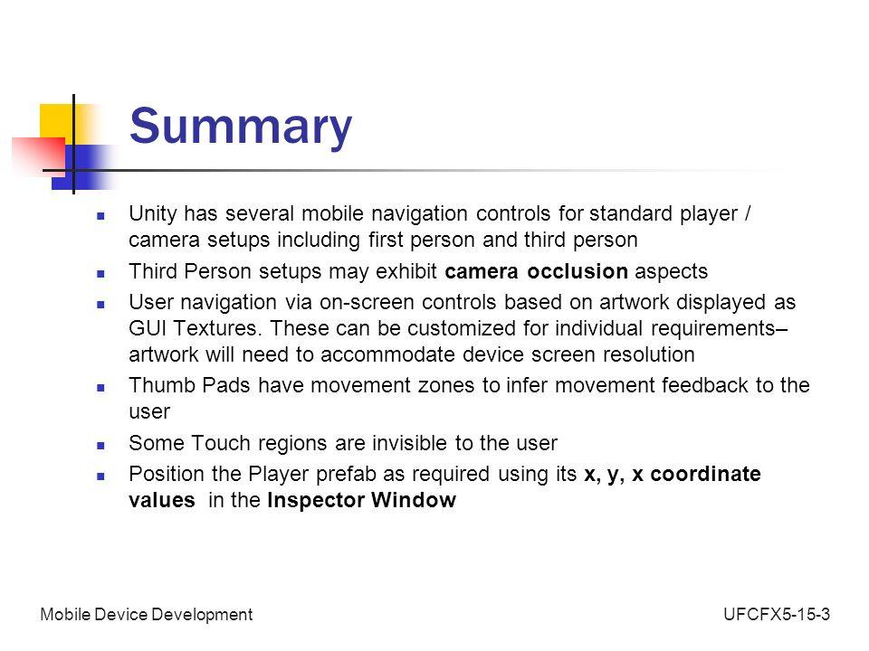 UFCFX5-15-3Mobile Device Development Unity 3D Development
