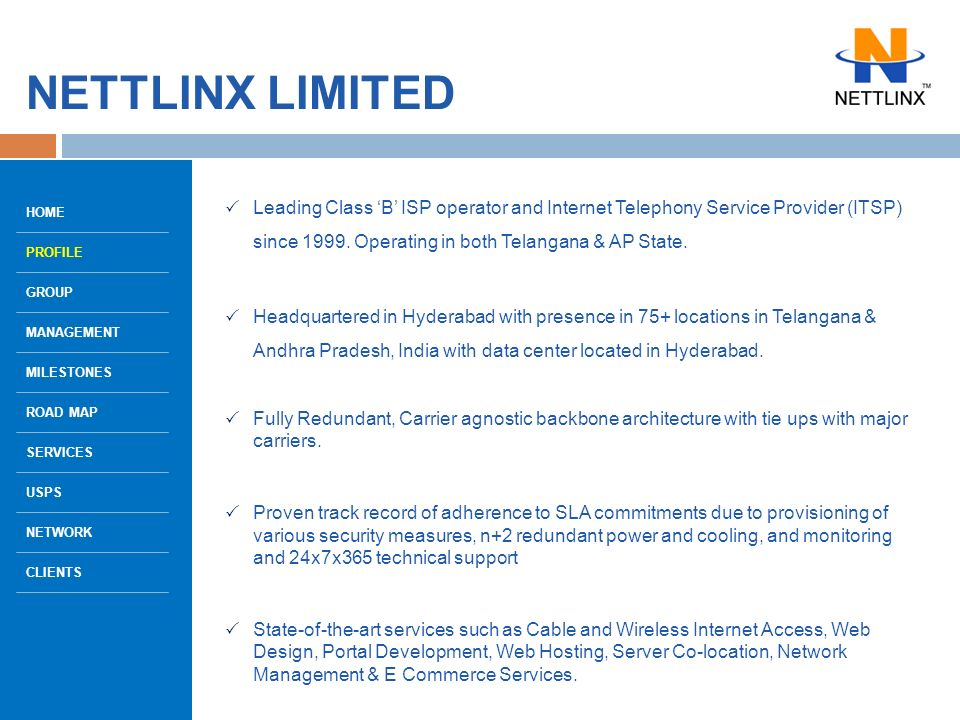 WELCOME TO THE Corporate Presentation OF NETTLINX LIMITED HOME