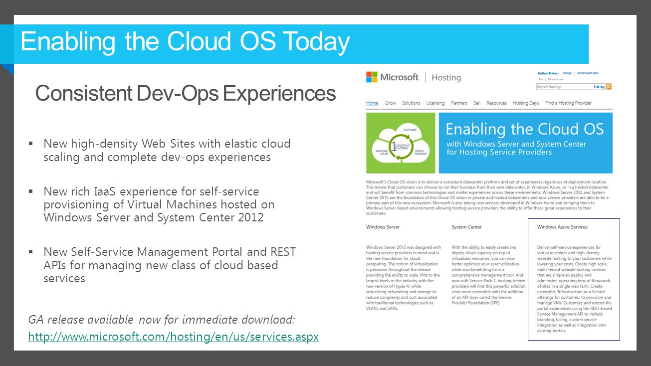 Enabling the Cloud OS Today  New high-density Web Sites with