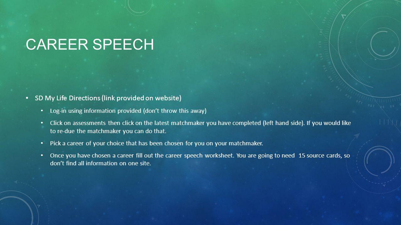 INFORMATIVE SPEECH SEMESTER TEST. CAREER SPEECH SD My Life ...