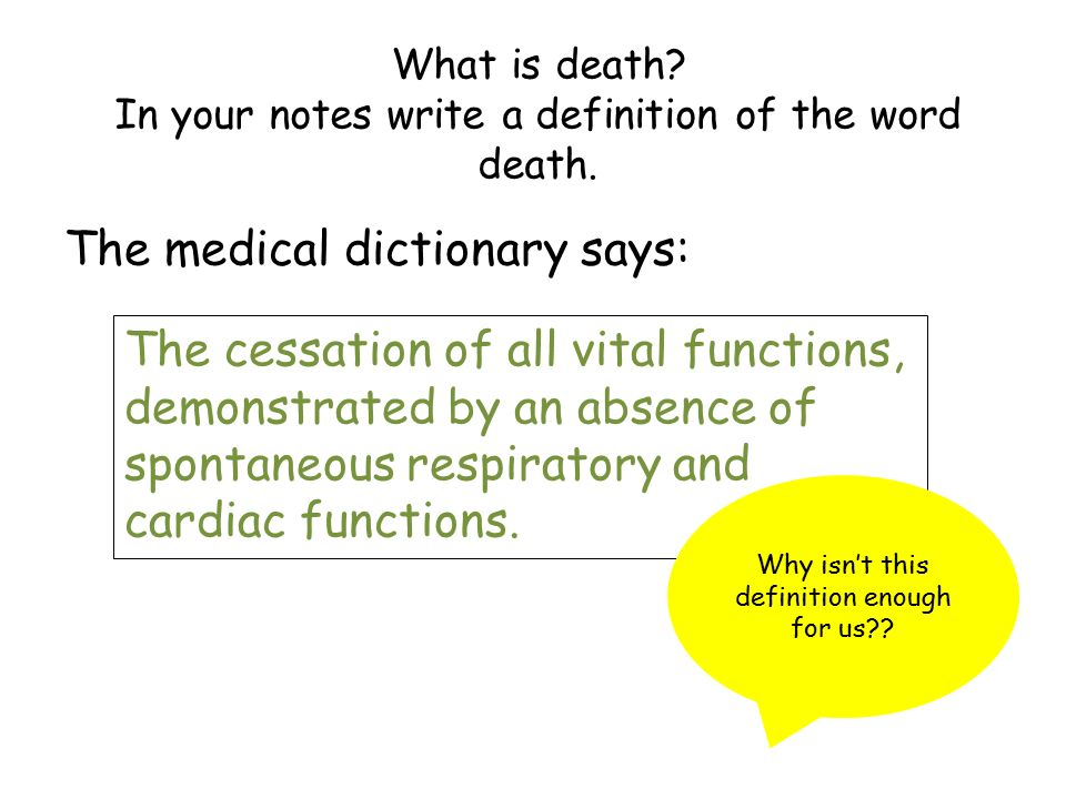 What is death? In your notes write a definition of the word