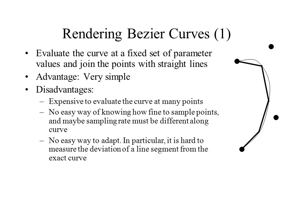 Rendering Bezier Curves (1) Evaluate the curve at a fixed