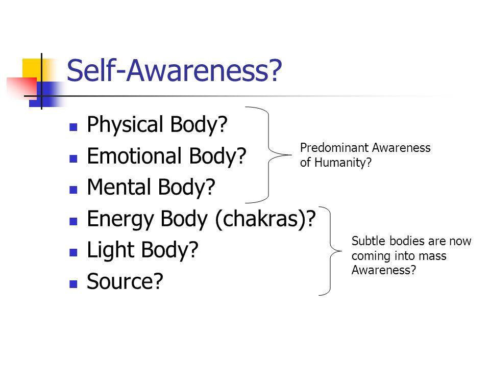 Self-Awareness. Physical Body. Emotional Body. Mental Body.