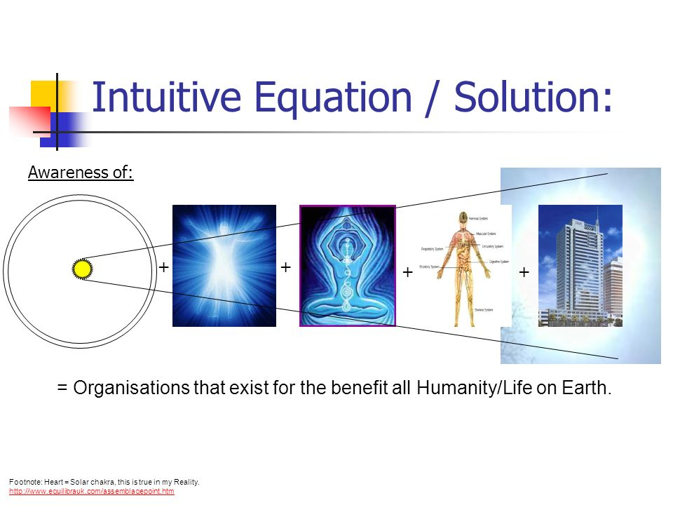 Intuitive Equation / Solution: ++ + + = Organisations that exist for the benefit all Humanity/Life on Earth.