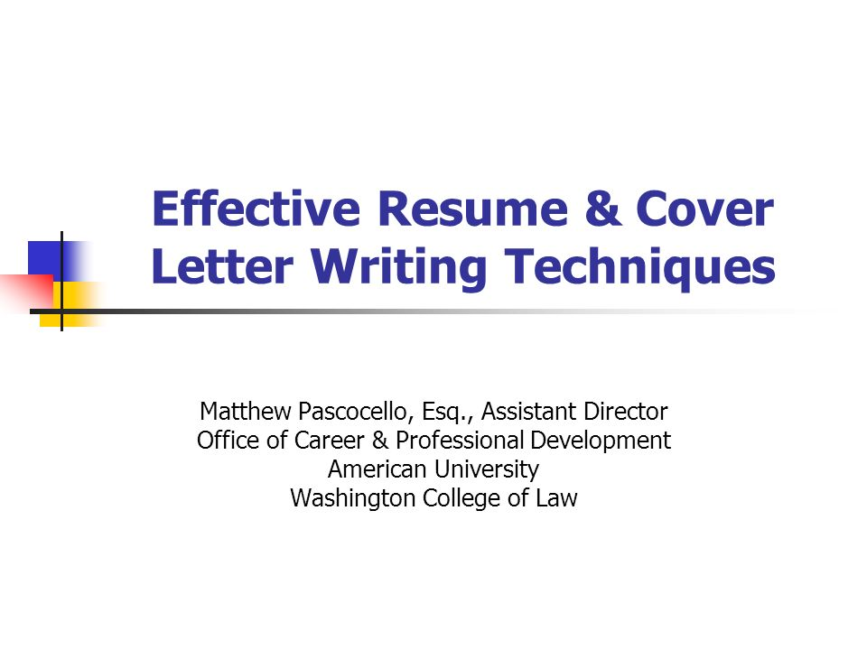 Effective Resume Cover Letter Writing Techniques Matthew