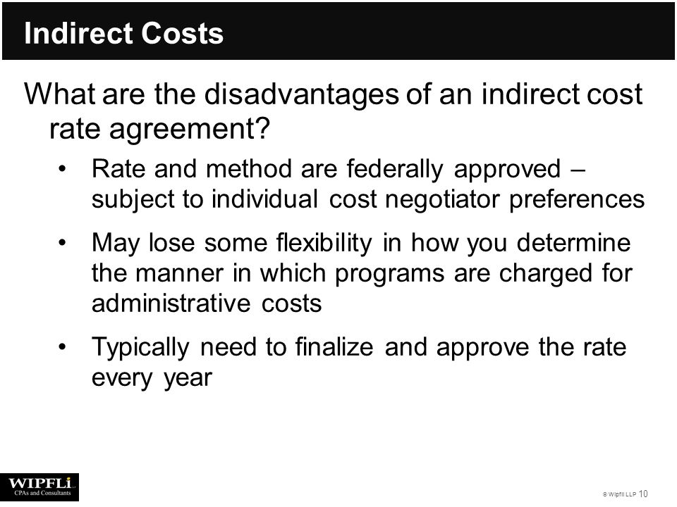 Wipfli Llp 1 Indirect Cost Rates Wipfli Llp Trainer Karl Eck Cpa