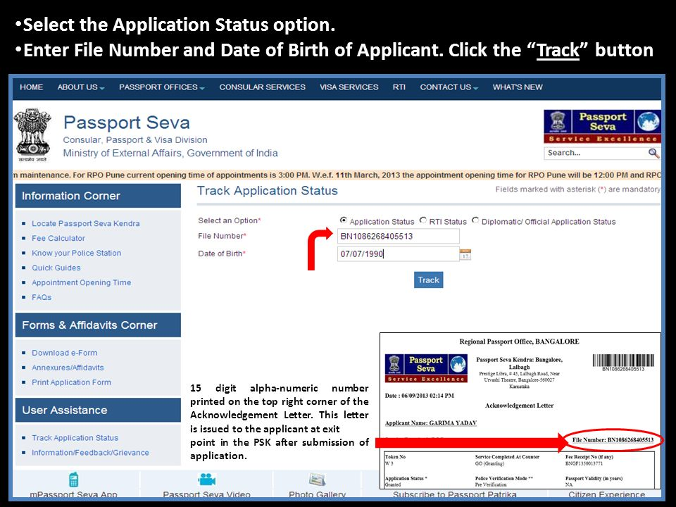 Steps to Check Application Status: - Passport Applications