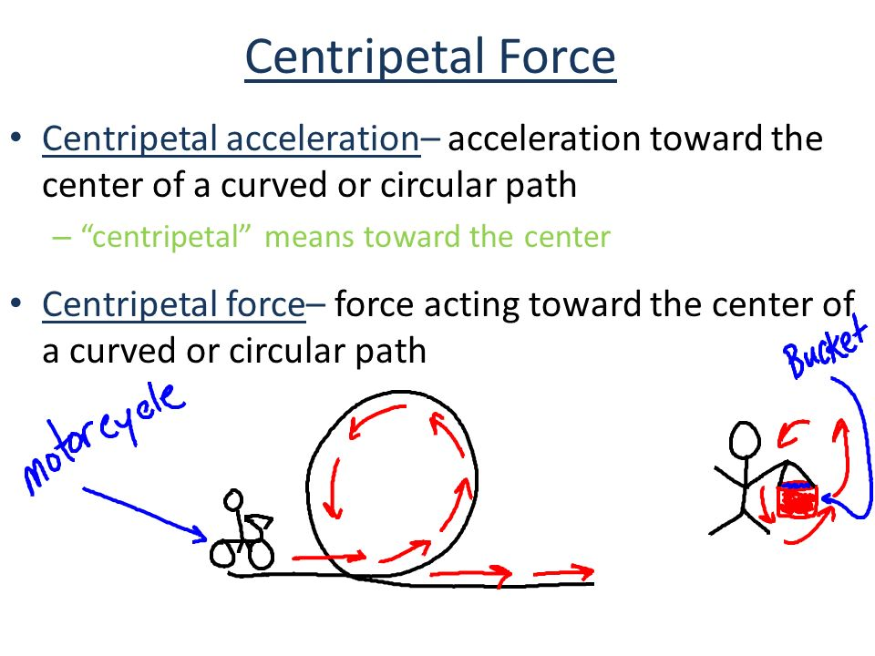 Centripetal Force Centripetal acceleration– acceleration toward the center of a curved or circular path – centripetal means toward the center Centripetal force– force acting toward the center of a curved or circular path