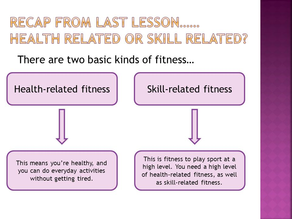 There Are Two Basic Kinds Of Fitness Health Related Fitnessskill Related Fitness This