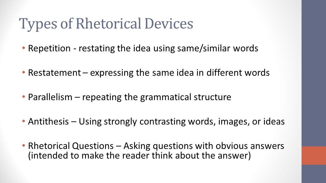 types of rhetorical devices