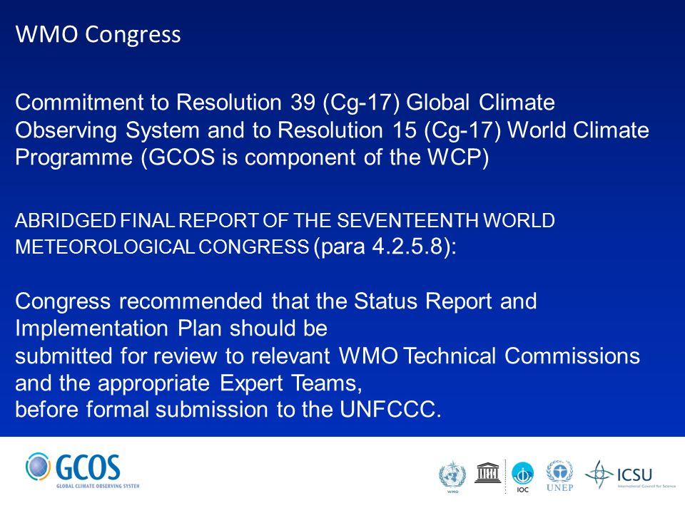 Global climate observing system briefing to icg wigos carolin 3 wmo freerunsca Image collections