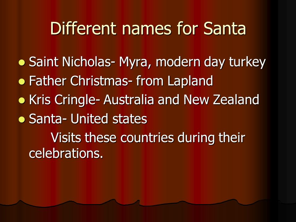 santa around the world by melinda and travis different names for
