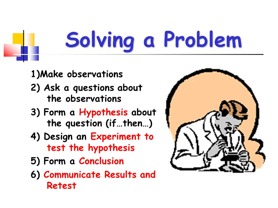 Solving a Problem 1)Make observations 2) Ask a questions about the observations 3) Form a Hypothesis about the question (if…then…) 4) Design an Experiment to test the hypothesis 5) Form a Conclusion 6) Communicate Results and Retest