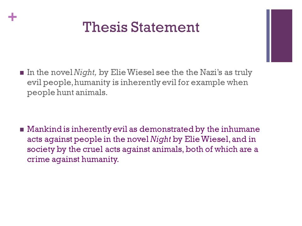 """thesis statement on good and evil Seeing examples of both good and bad thesis statements may help you craft a strong statement as a bad example, you might see, """"i will show the negative effects of not studying for a test"""" this statement does not give the reader information or share the writer's position on the topic."""