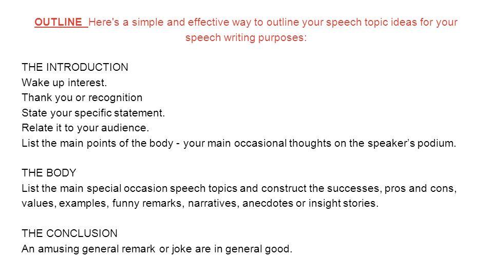 list of general topics for speech