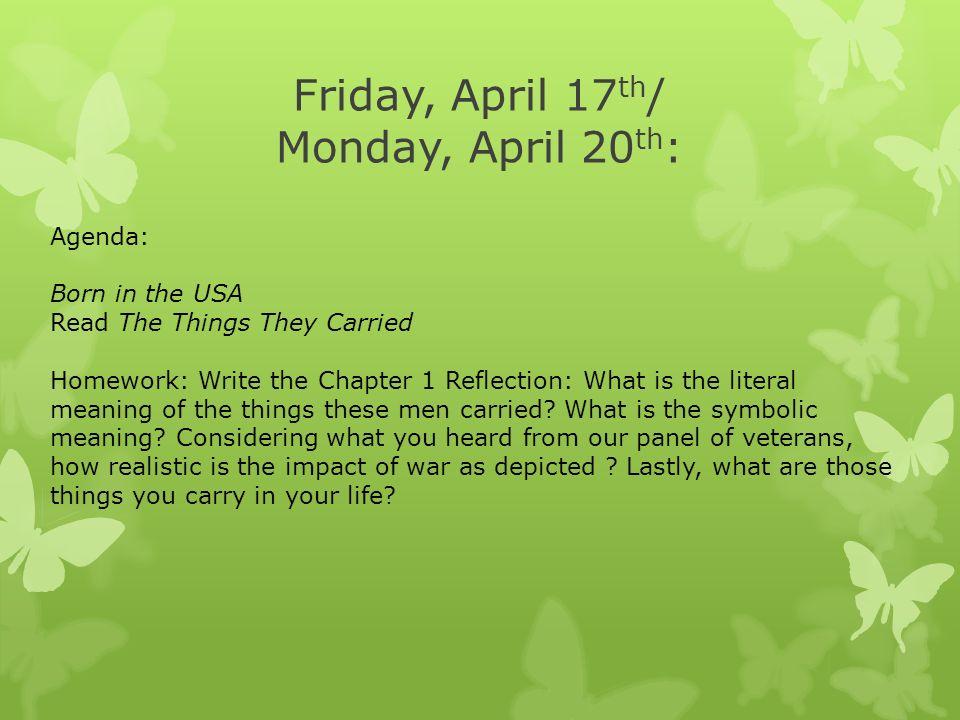 Friday April 17 Th Monday April 20 Th Agenda Born In The Usa