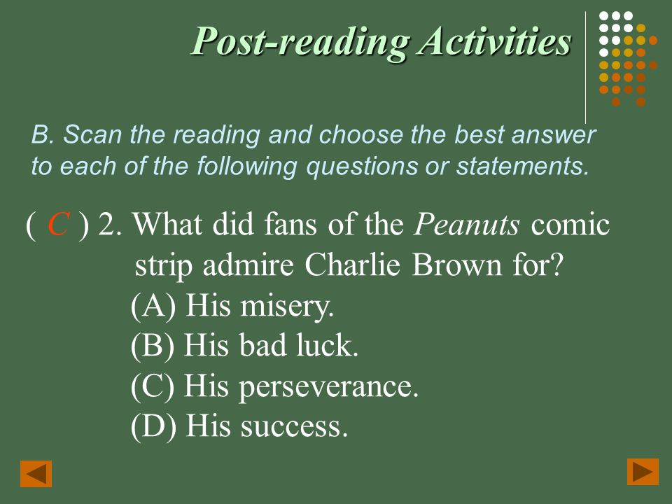 Post-reading Activities I. Reading for the Main Idea—Skimming Skim ...