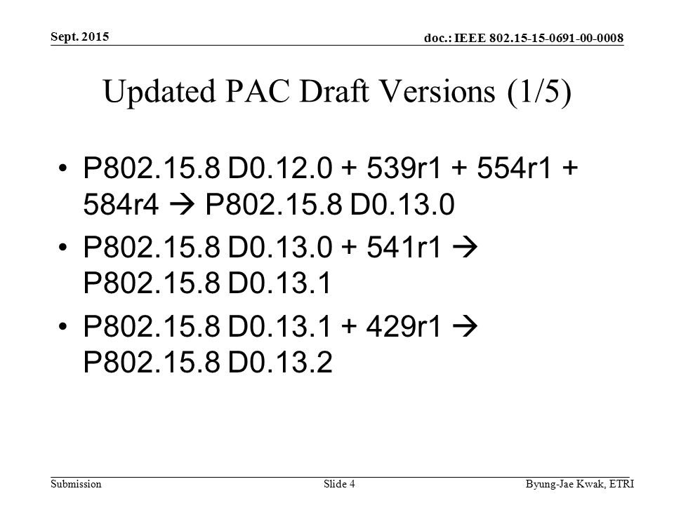 doc.: IEEE Submission Updated PAC Draft Versions (1/5) P D r r r4  P D P D r1  P D P D r1  P D Sept.