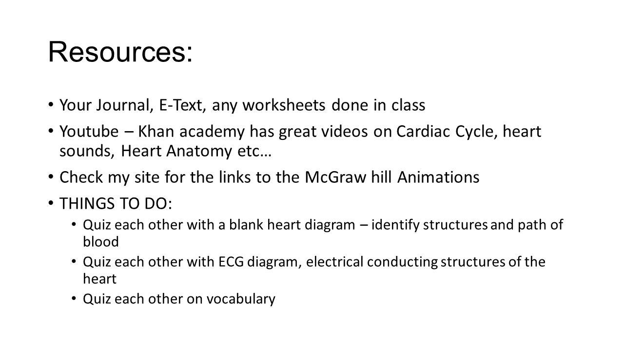 Review for Cardiac Exam K ANATOMY REVIEW  Test Monday 3/30/15 – K